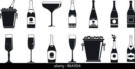 Party champagne icon set. Simple set of party champagne vector icons for web design on white background - Stock Photo
