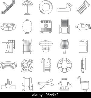 Swimming equipment icon set. Outline set of swimming equipment vector icons for web design isolated on white background - Stock Photo