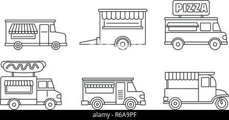 Festival food truck icon set. Outline set of festival food truck vector icons for web design isolated on white background - Stock Photo