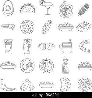 Healthy mexican food icon set. Outline set of healthy mexican food vector icons for web design isolated on white background - Stock Photo