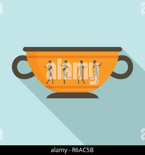 Greek ancient bowl icon. Flat illustration of greek ancient bowl vector icon for web design - Stock Photo