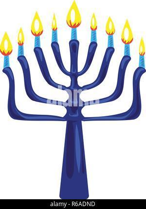 Blue menorah icon. Cartoon of blue menorah vector icon for web design isolated on white background - Stock Photo