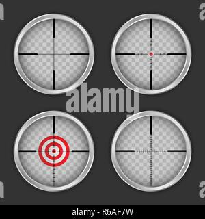 Crosshair icon set. Realistic set of crosshair vector icons for web design - Stock Photo