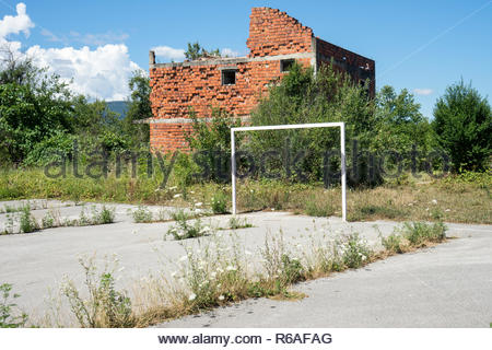 Destroyed House From The Bosnian War - Stock Photo