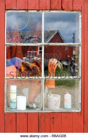 Still Life Window Of A Fishermans Hut - Stock Photo