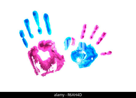 Colorful child's handprints isolated on white background. World autism awareness day concept. - Stock Photo