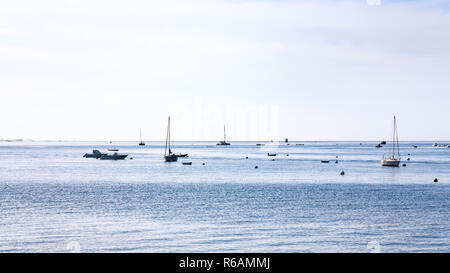 boats in English Channel near Saint-Guirec beach - Stock Photo