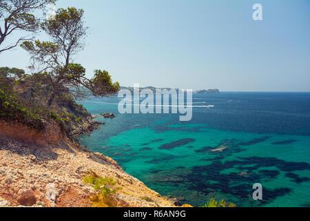 Santa Ponsa, Mallorca, Spain - July 24, 2013: View of the streets resort town of Santa Ponsa in summer - Stock Photo