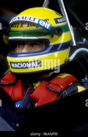 Ayrton Senna in his Lotus Renault at the Portuguese Grand Prix 1985 - Stock Photo