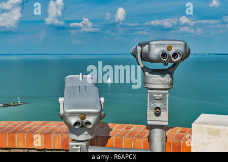 View from Tihany over Lake Balaton, in the foreground are two telescopes, Tihany, Veszprem county, Central Transdanubia, Hungary, Europe - Stock Photo
