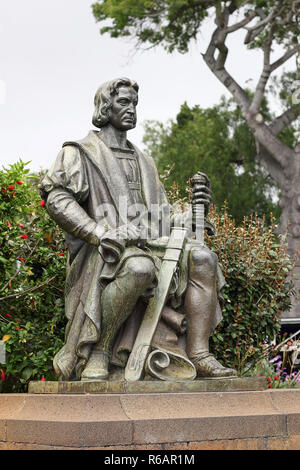 Monument for Christopher Columbus in the Santa Catarina Park in Funchal - Stock Photo