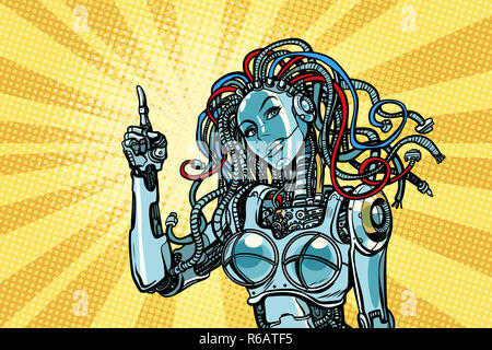 female robot indicates - Stock Photo