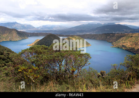 cuicocha crater lake at the foot of the cotacachi volcano in the andes - Stock Photo
