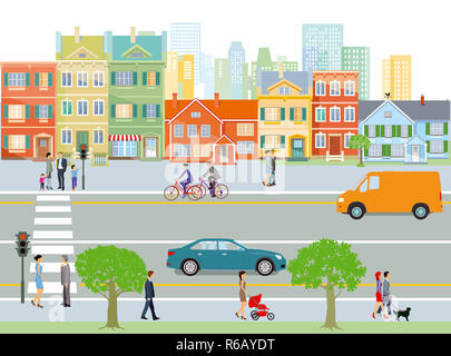 city with road traffic and pedestrian,illustration - Stock Photo