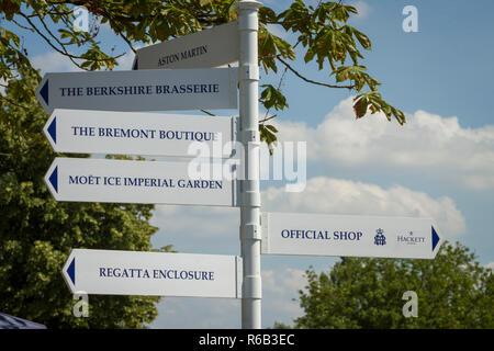 Information signs at Henley Royal Regatta - Stock Photo