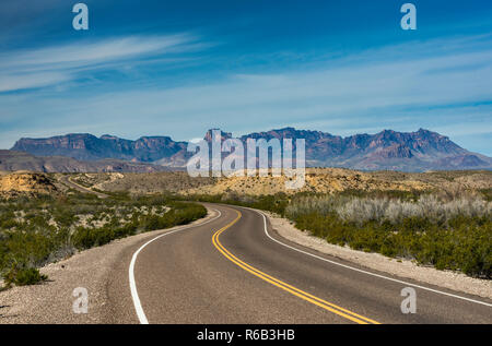 Chisos Mountains over Chihuahuan Desert, view from Rio Grande Village Drive, Big Bend National Park, Texas, USA - Stock Photo