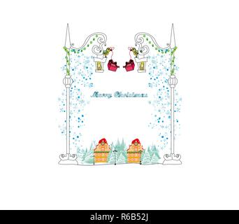 Christmas Winter Birds card - Stock Photo