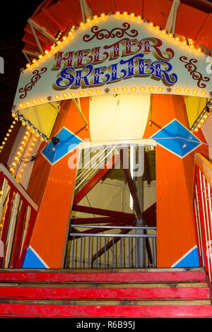 30 November 2018 The entrance to a traditional Helter Skelter ride in erected as an attraction at the Belfast Christmas Fair in Northern Ireland. This - Stock Photo