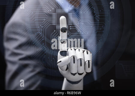 Robot's Finger Touching Computer Micro Chip - Stock Photo