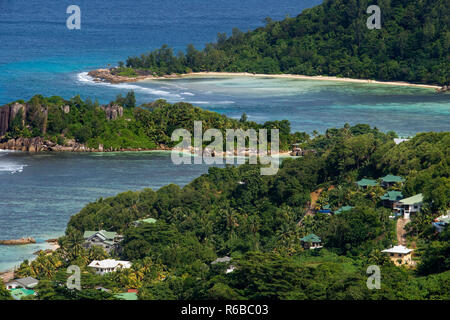 Port Glaud, elevated view of south coast, panoramic road Mahe Seychelles - Stock Photo