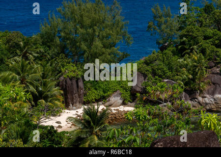Private beach of Constance Ephelia Port Launay Mahe island Seychelles - Stock Photo