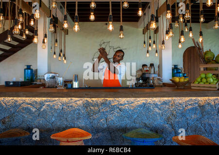 Six Senses Zil Pasyon luxury hotel. Felicite island Seychelles. - Stock Photo