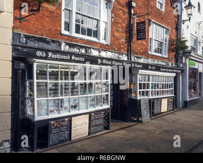 The Oldest Chemist Shop in England and Lavender Tea Rooms Market Place Knaresborough North Yorkshire England - Stock Photo