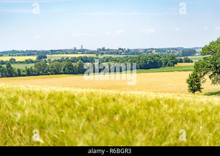rural scenery in hohenlohe - Stock Photo