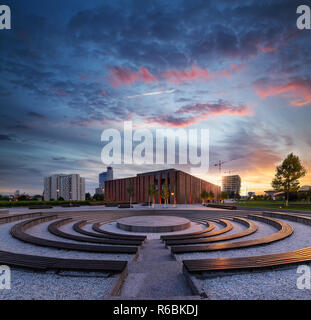 Polish National Radio Symphony Orchestra in Katowice with dramatic sunset - Stock Photo