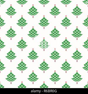 Christmas seamless pattern with geometrical fir-trees. Winter holidays design. Modern Christmas pattern. Vector background. - Stock Photo