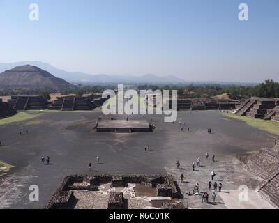 Avenue of the Dead and pyramid of the Sun on left at Teotihuacan ruins near Mexico city landscape - Stock Photo