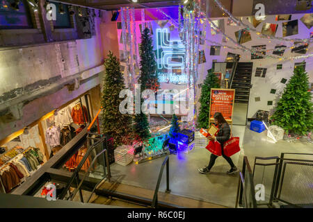 A Christmas display in an Urban Outfitters retail store in Herald Square in New York  on Sunday, December 2, 2018.  (© Richard B. Levine) - Stock Photo