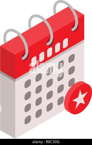 Calendar star day icon, isometric style - Stock Photo