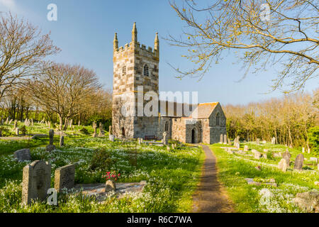The medieval church of St Wynwallow in the village of Landewednack, near Lizard, on the Lizard Peninsula of Cornwall, England. - Stock Photo