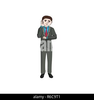A businessman (man, boy) is talking on a mobile phone and is looking at a wristwatch. Vector - Stock Photo