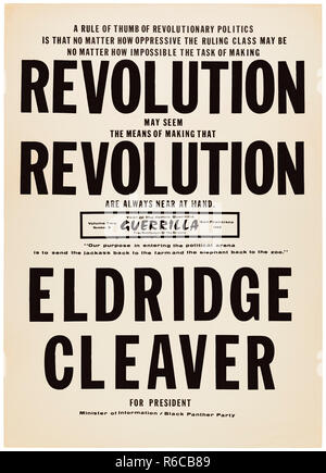 'Revolution Revolution Eldridge Cleaver for President' 1968 presidential campaign poster as candidate for the Black Panther Party. See more information below. - Stock Photo
