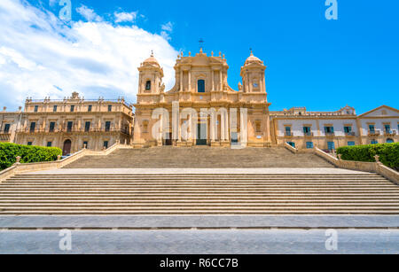 The famous Cathedral of Noto (Basilica Minore of San Nicolò) on a sunny summer day. Province of Siracusa, Sicily, Italy. - Stock Photo