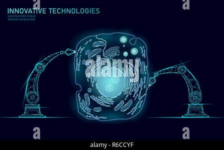 Artificial cell synthesys gene therapy DNA 3D chemical. Animal cell biochemistry engineering research concept. Biorobot robotic arm industry vector illustration future business technology - Stock Photo