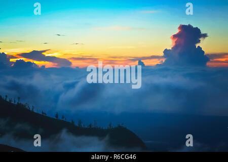 View from the Gunung Rinjani volcano - Stock Photo