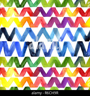 Zigzag watercolor seamless pattern. Rainbow colors in a chevron motif on a white background. Suitable for cosmetic packaging, patterns of children's d - Stock Photo