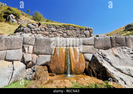 Ruin Spring In Tambomachay Or Tampumachay, Archaeological Site Associated With The Inca Empire, Located Near Cusco In Peru - Stock Photo