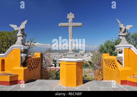 Nuestra Senora De Los Remedios, The Church Located On Top Of The Cholula Pyramid In Mexico - Stock Photo