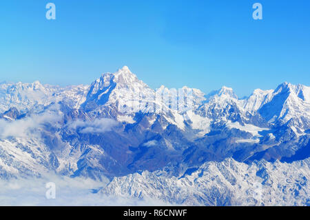Wonderful Aerial Views In Nepal Fly Over To Mountain Everest Himalaya - Stock Photo