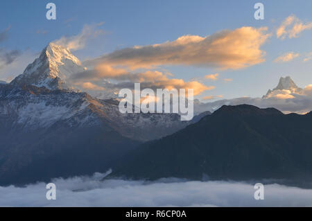 Nepal, Ghorepani, Poon Hill, Dhaulagiri Massif, Himalaya, Annapurna South View From Poon Hill, Himalaya - Stock Photo