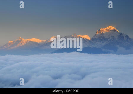 Nepal, Ghorepani, Poon Hill, Dhaulagiri Massif, Himalaya, Dhaulagiri Range Looking West From Poon Hill - Stock Photo