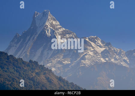 Nepal, Annapurna Conservation Area, Machapuchare Or Machhapuchhre Fish Tail, Mountain In The Annapurna Himal Of North Central Nepal - Stock Photo