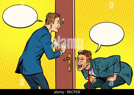 Two men spy each other through the door - Stock Photo