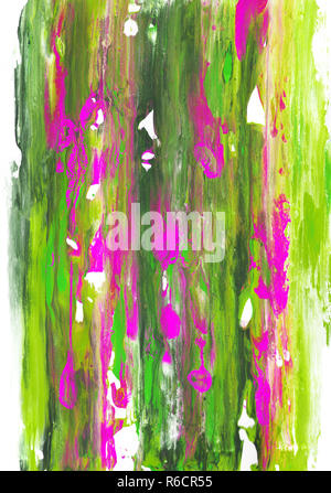 Long streaks of green and pink paint on white paper - Stock Photo