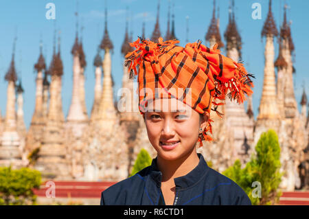 Pa'O Beautiful Young Woman Visiting Kakku Pagodas, Myanmar Near The Lake Inle This Sacred Place Is On The Territory Of The Pao People Shan State, Myan - Stock Photo