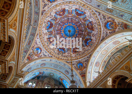 Detail Of The Dome Of The Ceremonial Hall Dolmabahce Palace In Istanbul, Turkey - Stock Photo
